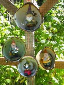 Gnomes in Pans Hiding in the Garden