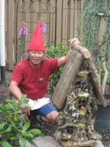 The tall red gnome hat