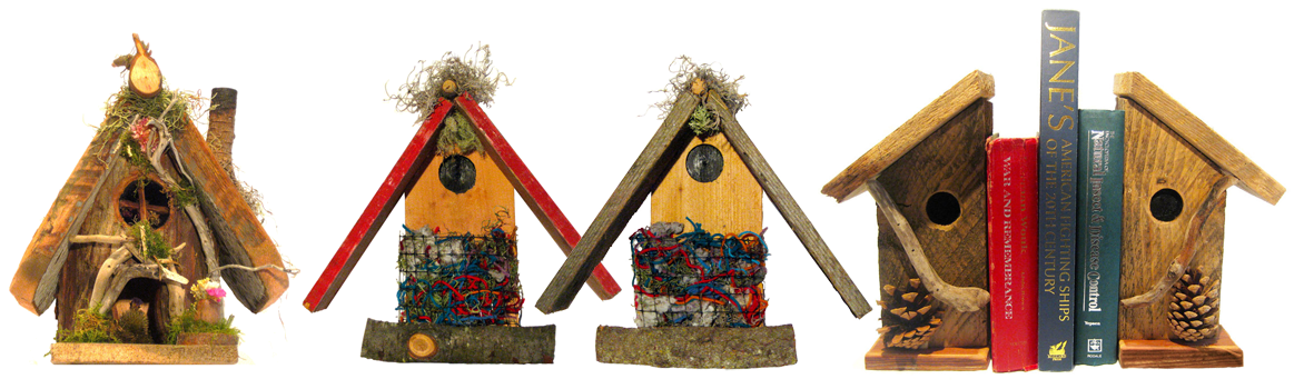 Fairy House - Bird Nester's Hut - Birdhouse Bookends